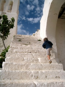 Judah Climbs to the Church, Folengandros, Greece